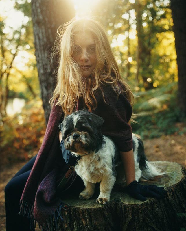 lady with dog in autumn portrait
